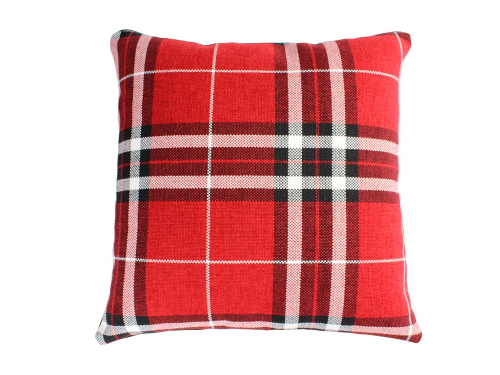 luxus sofakissen dekokissen karriert rot schwarz. Black Bedroom Furniture Sets. Home Design Ideas